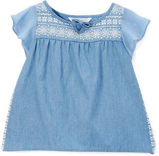Aeropostale p.s. from Girls' Tunics Blue - Blue & White Embroidered Flutter-Sleeve Tunic - Girls