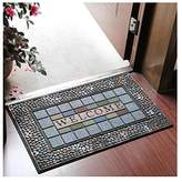 TOYM US- Green Grid Cobbles Household Rubber Mats Doormat Slip Carpet Welcome Entrance Hall Floor Mats Rub(45*75cm)