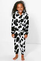 Boohoo Girls Cow Hooded Onesie With Ears