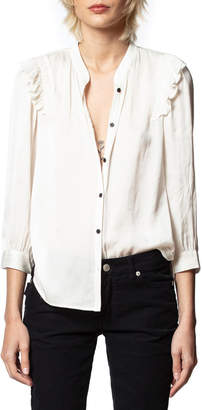 Zadig & Voltaire Tygg Satin Button-Down Ruffle Top