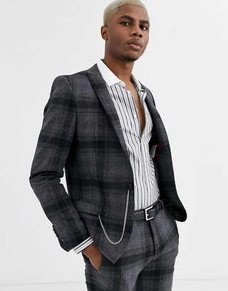 Twisted Tailor super skinny fit suit jacket in wide grey check