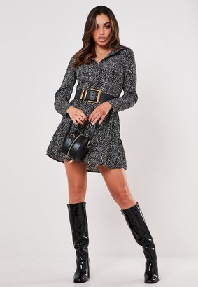 Missguided Black Dalmatian Print Button Front Smock Shirt Dress