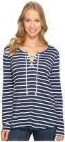 NYDJ French Terry Lace-Up Top Women's Clothing
