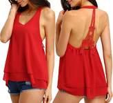Amstt Women Eiffel Tower Halter Round Neck Sleeveless Backless Chiffon Tank Top Shirt (XL, )