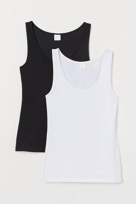 H&M 2-pack Cotton Tank Tops - Black