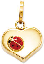 14k Gold Charm, Heart and Ladybug Charm