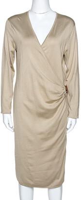Ralph Lauren Ralph Laurent Beige Silk Knit Leather Strap Detail Fitted Dress L