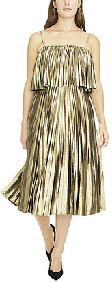J.Crew Women's Casual Dresses METALLIC - Metallic Gold Lame Goma Pleated Midi Dress - Women