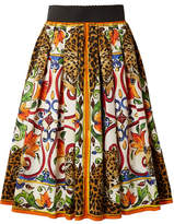 Dolce & Gabbana Maiolica Pleated Printed Cotton-poplin Skirt - Orange