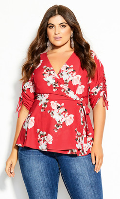 City Chic Lady Ascot Top - red