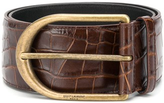 Saint Laurent Chic crocodile-embossed corset belt
