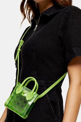 Topshop JAX Lime Green Micro Mini Tote Bag