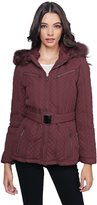 Awesome21 Quilted Fur Lined Lux Gold Zippered Parka Wine Size L