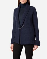 N.Peal Crocodile Cashmere Cardigan With Pin