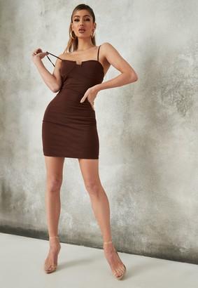 Missguided Brown Mesh Low Back Mini Dress