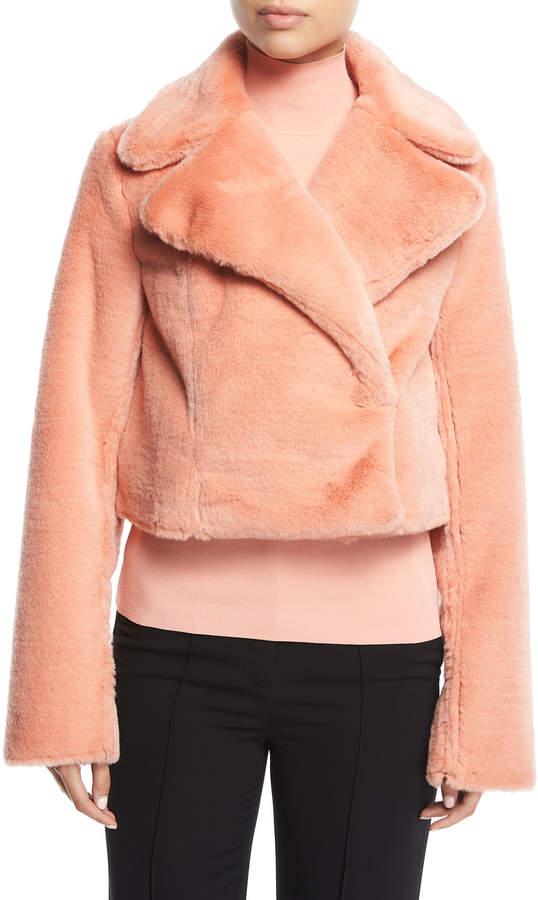Diane von Furstenberg Collared Long-Sleeve Cropped Faux-Fur Jacket