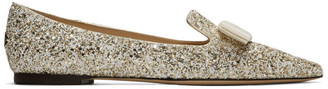 Jimmy Choo Gold and White Coarse Glitter Gala Flats