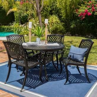 Christopher Knight Home Carysfort 5pc Aluminum Dining Set - Black Sand
