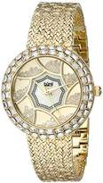 Burgi Women's BUR118YG Crystal Baguette Bezel Mother-of-Pearl & Floating Crystal Dial Yellow Gold Bracelet Watch