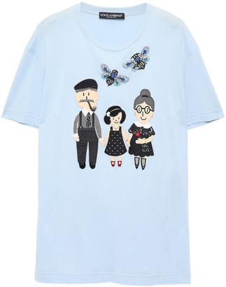 Dolce & Gabbana Embellished Cotton And Silk-blend Jersey T-shirt