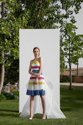 Gemy Maalouf Multicolored Strapless Dress with Train
