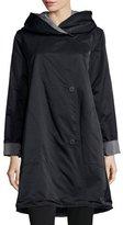 Eileen Fisher Reversible Hooded Rain Coat, Black/Pewter, Petite