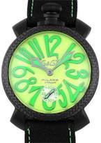 GaGa MILANO Manuare 5016.11 S-BLK PVD Coated Stainless Steel & Leather Manual 48mm Mens Watch