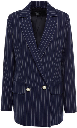 Mother of Pearl Double-breasted Pinstriped Organic Cotton-twill Blazer