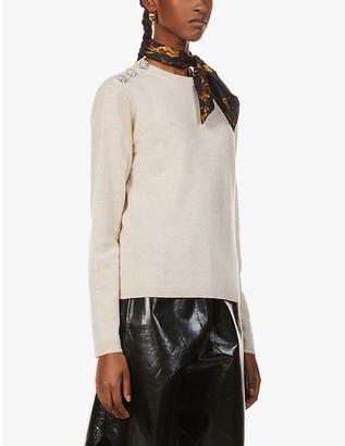 Ganni Button-embellished cashmere jumper