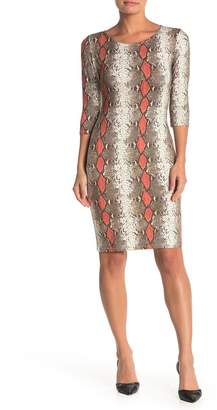 Blvd 3/4 Length Sleeve Snake Skin Print Bodycon Dress
