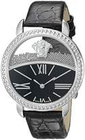 Versace Women's 'KRIOS' Swiss Quartz Stainless Steel and Leather Casual Watch, Color:Black (Model: VAS020016)