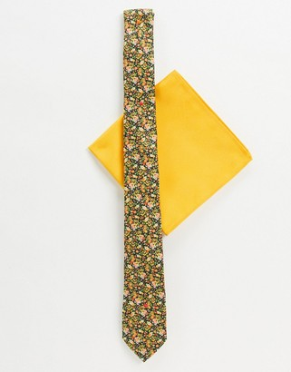 ASOS DESIGN ditsy print tie and pocket square in yellow