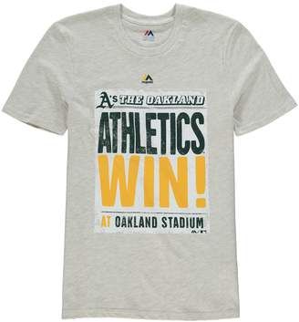 Majestic Youth Cream Oakland Athletics Front Page T-Shirt