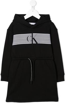 Calvin Klein Kids Hooded Logo Sweatshirt dress