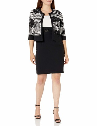 Sandra Darren Women's 2 PC 3/4 Sleeve Printed Jacket Dress Set Black/White 12