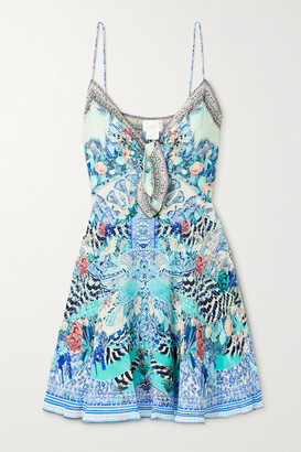 Camilla Crystal-embellished Printed Silk Crepe De Chine Mini Dress - Blue