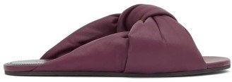 Balenciaga Drapy Knotted-leather Slides - Burgundy