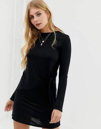 Brave Soul knot detail long sleeve mini dress in black