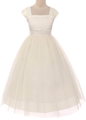 Kid's Dream Girls' Special Occasion Dresses Ivory - Ivory Flower-Accent A-Line Dress - Toddler & Girls