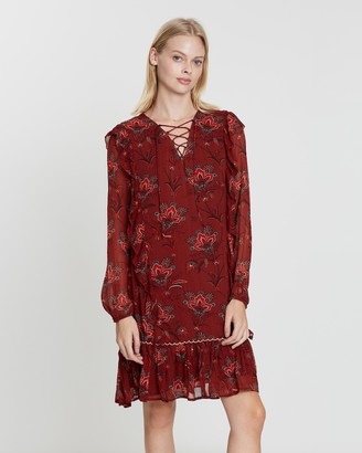 Maison Scotch Drapey Viscose Dress with Tape and Ruffle Details