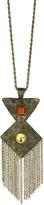 Carole Goldtone Geometric Pendant & Tassel Necklace