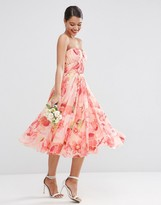 Asos WEDDING Floral Printed Rouched Bandeau Mesh Midi Dress