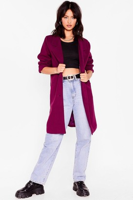 Nasty Gal Womens Love Will Faux Wool Find Away Longline Coat - Berry
