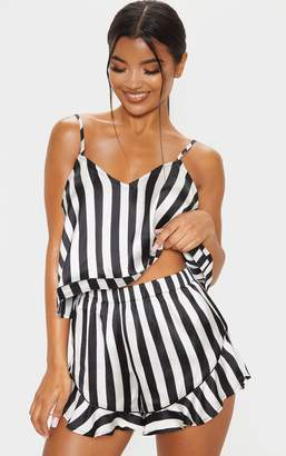 PrettyLittleThing Black And White Piping Detail Cami Short Pj Set