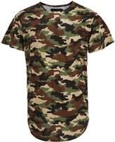 Idopy Men`s Urban Hipster Hip Hop Extended Arc Hem Camouflage T-shirt Grey M
