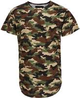 Idopy Men`s Urban Hipster Hip Hop Extended Arc Hem Camouflage T-shirt L