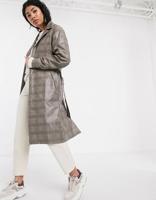 Rains waterproof check belted overcoat
