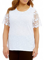 Allison Daley Plus Wide Crew-Neck Lace Trim Short Sleeve Knit Top