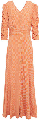 By Ti Mo Ruched Polka-dot Crepe Maxi Dress
