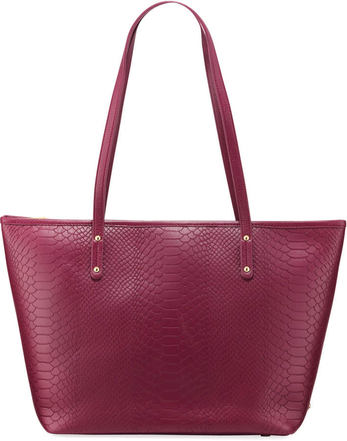 GiGi New York Taylor Embossed Python Leather Tote Bag
